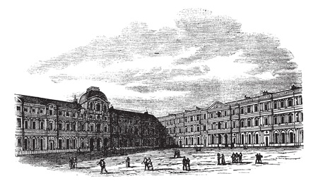 The courtyard of Louvre Palace in Paris, France, during the 1890s, vintage engraving. Old engraved illustration of the courtyard of Louvre Palace with people in front. Vector