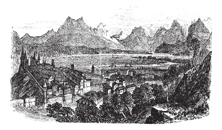 Lucerne in Switzerland, during the 1890s, vintage engraving. Old engraved illustration of Lucerne with Reuss River. Stock Vector - 13772312