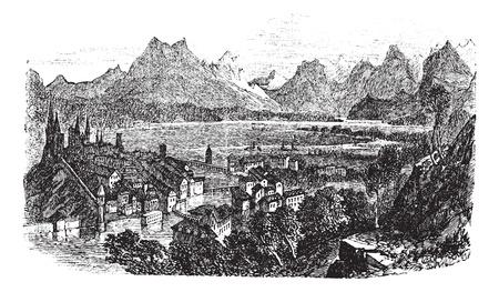Lucerne in Switzerland, during the 1890s, vintage engraving. Old engraved illustration of Lucerne with Reuss River. Stock Vector - 13772312