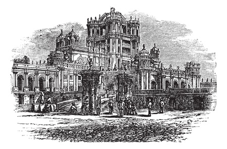 La Martiniere College in Lucknow, Uttar Pradesh, India, during the 1890s, vintage engraving. Old engraved illustration of La Martiniere College. Vector