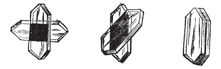 clarity: Tourmaline place differently to illustrate light optics, vintage engraving. Old engraved illustration of Tournmaline. Illustration