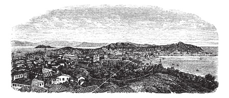 macao: Macau or Macao, during the 1890s, vintage engraving. Old engraved illustration of Macau. Illustration
