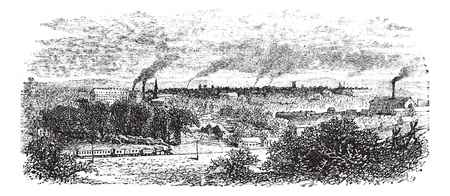 Macon or Heart of Georgia in Georgia, US, during the 1890s, vintage engraving. Old engraved illustration of Macon industrial area with smokestacks.