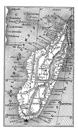 Map of Madagascar, during the 1890s, vintage engraving. Old engraved illustration of the Map of Madagascar. Vector