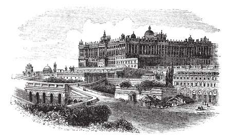 madrid  spain: The Royal Palace of Madrid in Spain, during the 1890s, vintage engraving. Old engraved illustration of the Royal Palace of Madrid.