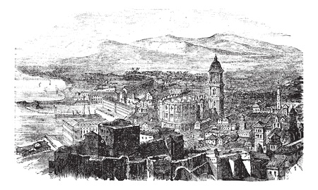 architectural drawing: Malaga in Andalusia, Spain, during the 1890s, vintage engraving. Old engraved illustration of Malaga with its port. Illustration