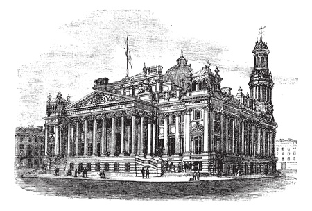 Royal Exchange in Manchester, England, during the 1890s, vintage engraving. Old engraved illustration of Royal Exchange. Vector