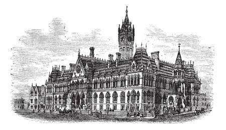 constitutional law: Manchester Assize Courts in Strangeways, Manchester, England, during the 1890s, vintage engraving. Old engraved illustration of Manchester Assize Courts.