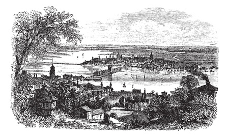 lombardy: Mantua in Lombardy, Italy, during the 1890s, vintage engraving. Old engraved illustration of Mantua with lake in between.