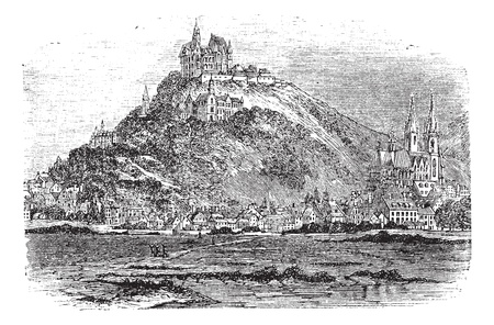 Marburg in Hessen, Germany, during the 1890s, vintage engraving. Old engraved illustration of Marburg with river Lahn in front.