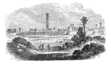 Morocco or Kingdom of Morocco, during the 1890s, vintage engraving. Old engraved illustration of Morocco with horse riders in front.