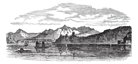 Muscat in Oman, during the 1890s, vintage engraving. Old engraved illustration of Muscat with sea in front. Vector