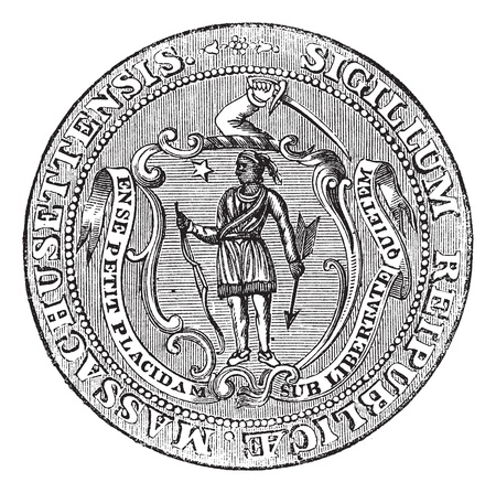 coat of arms shield: Great Seal of the Commonwealth of Massachusetts or the Seal of the Republic of Massachusetts, United States, vintage engraving. Old engraved illustration of Great Seal of the Commonwealth of Massachusetts isolated on a white background.