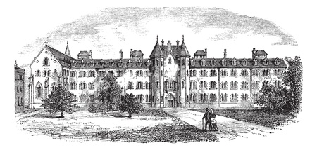 college building: St Patricks College or Maynooth College or Royal College of St. Patrick Maynooth in Ireland, during the 1890s, vintage engraving. Old engraved illustration of St Patricks College.