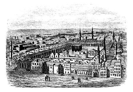 muhammad: La Gran Mezquita en La Meca, cosecha ilustraci�n grabada. Enciclopedia Trousset (1886 - 1891). Vectores
