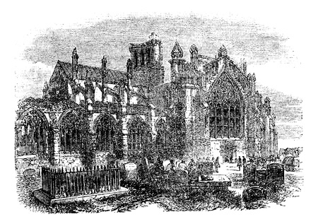Melrose Abbey, Scotland, vintage engraved illustration. Trousset encyclopedia (1886 - 1891). Stock Vector - 13772447