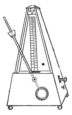 reloj de pendulo: Metr�nomo aislado en blanco, cosecha ilustraci�n grabada. Enciclopedia Trousset (1886 - 1891).