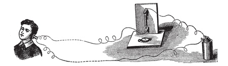 transducer: Microphone, an acoustic-to-electric transducer, vintage engraved illustration.Trousset encyclopedia (1886 - 1891).