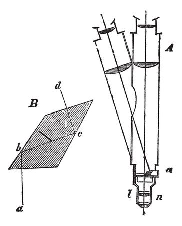 Optical path in a simple microscope, vintage engraved illustration. Trousset encyclopedia (1886 - 1891). Vector