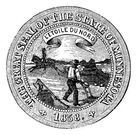 Seal of the State of Minnesota, vintage engraved illustration.   Trousset encyclopedia (1886 - 1891). Vector