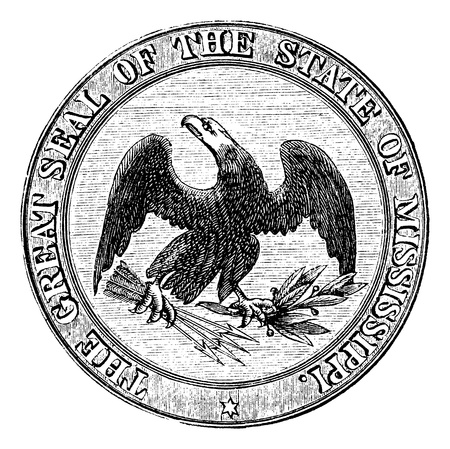 mississippi: Seal of the State of Mississippi, vintage engraved illustration. Trousset encyclopedia (1886 - 1891).