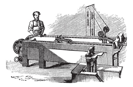 fabrication: Spinneret machine, vintage engraved illustration. Spinneret machine used in the fabrication of gold and silver coin in the late 1800s. Trousset encyclopedia (1886 - 1891).