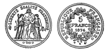 frank: Piece of silver 5 francs, vintage engraved illustration. Trousset encyclopedia (1886 - 1891).