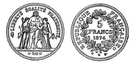 Piece of silver 5 francs, vintage engraved illustration. Trousset encyclopedia (1886 - 1891).