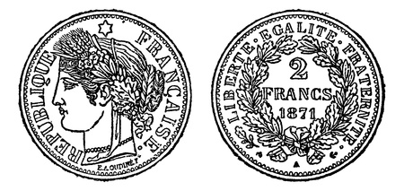 Piece of silver 2 francs, vintage engraved illustration. Trousset encyclopedia (1886 - 1891). Vector