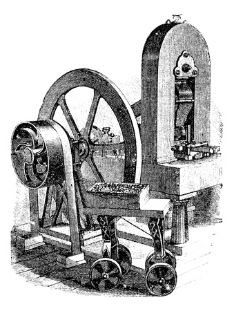 mechanical energy: Hit machine, vintage engraved illustration. Trousset encyclopedia (1886 - 1891).