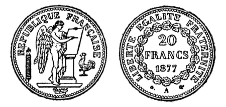 Gold coin of 20 francs, vintage engraved illustration. Trousset encyclopedia (1886 - 1891). Stock Vector - 13766666