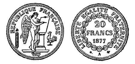 Gold coin of 20 francs, vintage engraved illustration. Trousset encyclopedia (1886 - 1891). Vector