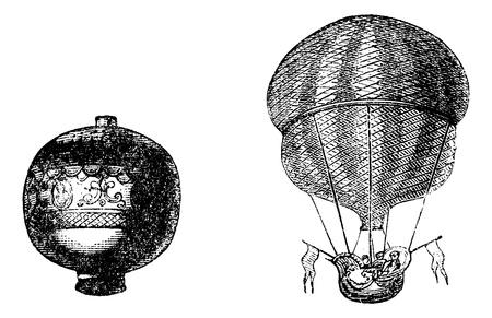 engraved: First balloon or Hot air balloon, vintage engraved illustration.  Trousset encyclopedia (1886 - 1891). Illustration