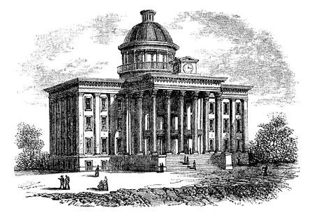 국회 의사당: 앨라배마 주 의사당 건물, 미국, 빈티지 새겨진 그림. Trousset 백과 사전 (1886-1891).