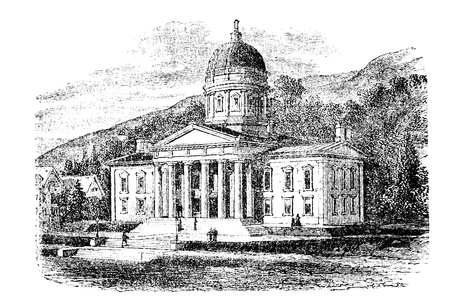 The State Capitol Building in Montpelier, Vermont, vintage engraved illustration. Trousset encyclopedia (1886 - 1891). Stock Vector - 13771816