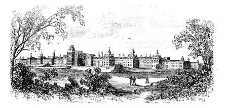 madhouse: Morristown. insane asylum of the state of New Jersey, vintage engraved illustration. Trousset encyclopedia (1886 - 1891).