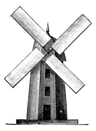 MOLINOS DE VIENTO: Molino de viento, cosecha ilustración grabada. Enciclopedia Trousset (1886 - 1891).