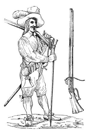 mosquetero: Mosquetero de los siglos XVI y XVII, con su tenedor y su mosquete, cosecha ilustración grabada. Enciclopedia Trousset (1886 - 1891). Vectores