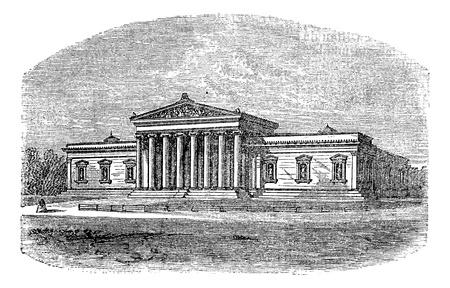 romanesque: Glyptothek museum, Munich, Germany, vintage engraved illustration. Trousset encyclopedia (1886 - 1891).