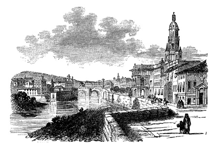 City of Murcia, Spain, vintage engraved illustration, during the late 1800s. Trousset encyclopedia (1886 - 1891).