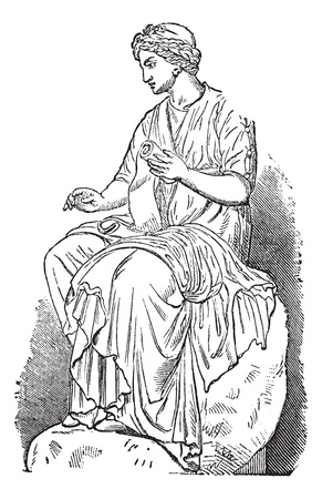 zeus: Calliope, Muse of Epic Poetry, vintage engraved illustration. Trousset encyclopedia (1886 - 1891). Illustration