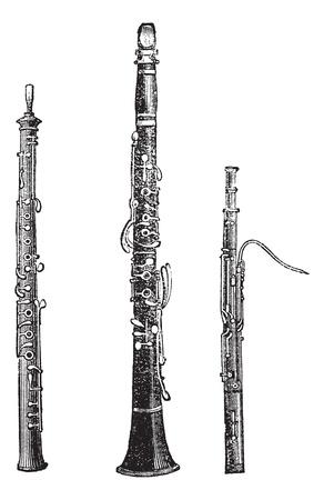 clarinete: Flauta, clarinete y fagot, cosecha ilustración grabada. Enciclopedia Trousset (1886 - 1891).