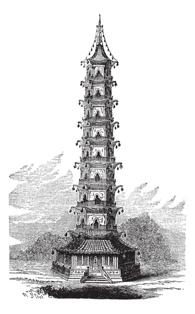 Porcelain Tower of Nanjing, in China, vintage engraved illustration. Trousset encyclopedia (1886 - 1891). Illusztráció