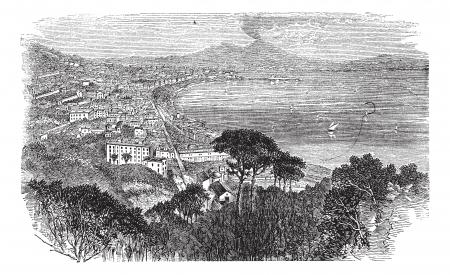 naples: Naples in Campania, Italy, vintage engraved illustration. Trousset encyclopedia (1886 - 1891).