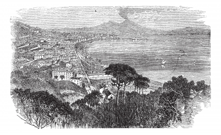 Naples in Campania, Italy, vintage engraved illustration. Trousset encyclopedia (1886 - 1891).