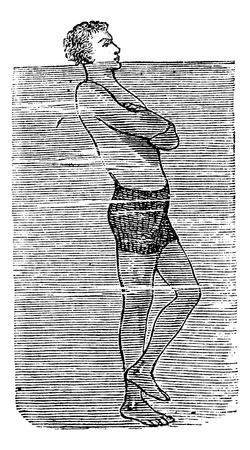 balancing: Balancing on One Foot in Water, vintage engraved illustration. Trousset encyclopedia (1886 - 1891). Illustration