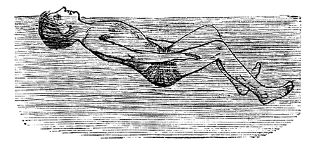 Back Float with Flutter Kick, vintage engraved illustration. Trousset encyclopedia (1886 - 1891). Vector