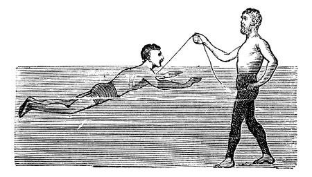 Learning to Swim with the Aid of a Rope, vintage engraved illustration. Trousset encyclopedia (1886 - 1891). Vector