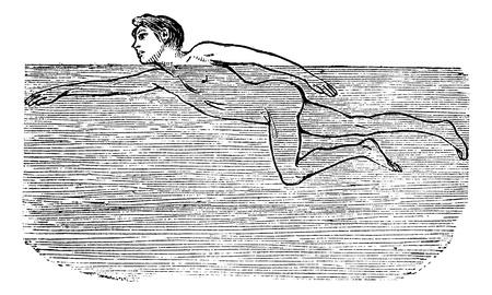 cutting through: Cutting Through Water, vintage engraved illustration. Trousset encyclopedia (1886 - 1891).