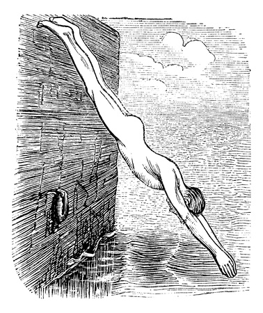 Position During Diving, vintage engraved illustration. Trousset encyclopedia (1886 - 1891). Vector